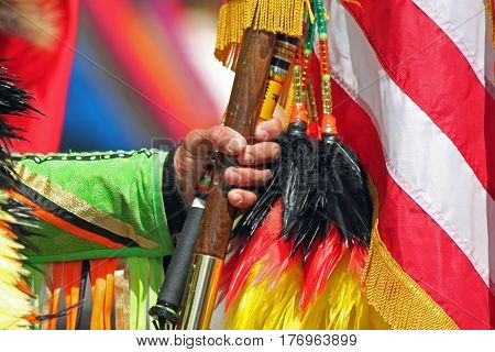 American Flag with Feathers at an Indian Powwow