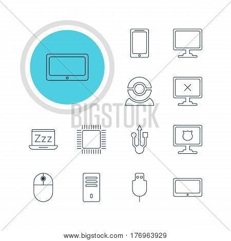 Vector Illustration Of 12 Computer Icons. Editable Pack Of Serial Bus, Antivirus, Web Camera And Other Elements.