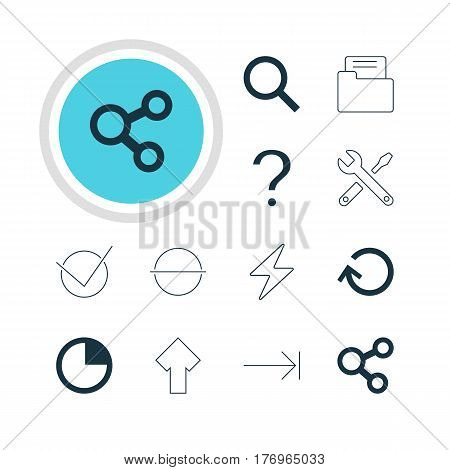 Vector Illustration Of 12 Member Icons. Editable Pack Of Seek, Tabulation Button, Yes And Other Elements.