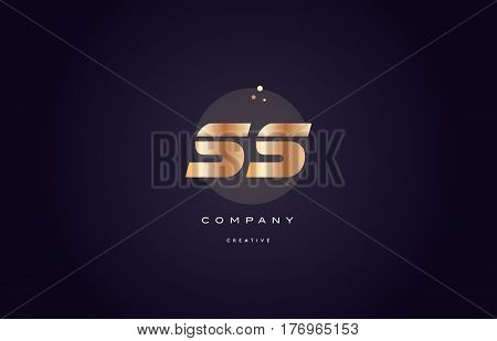Ss S S  Gold Metal Purple Alphabet Letter Logo Icon Template