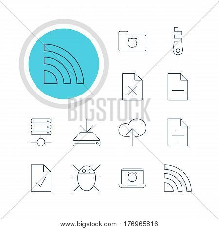 Vector Illustration Of 12 Web Icons. Editable Pack Of Removing File, Server, Delete Data And Other Elements.