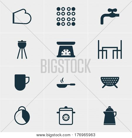 Vector Illustration Of 12 Kitchenware Icons. Editable Pack Of Faucet, Tea Cup, Measuring Tool And Other Elements.