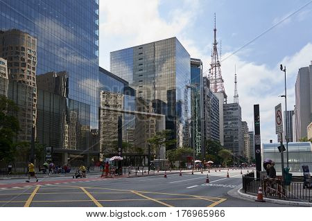 Sao Paulo Brazil - October 23 2016: Sunday or holiday in Paulista Avenue where avenue is closed to motor vehicles and open for the public for fun to walk run bike and skate through open avenue.