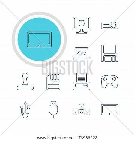 Vector Illustration Of 12 Notebook Icons. Editable Pack Of Diskette, Usb Icon, Tablet And Other Elements.