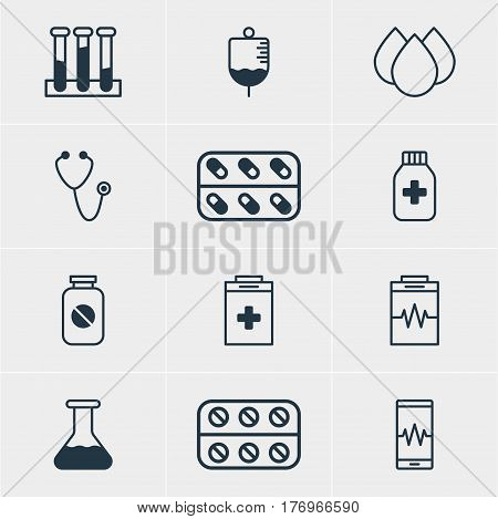Vector Illustration Of 12 Medicine Icons. Editable Pack Of Pulse, Treatment, Trickle And Other Elements.