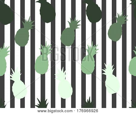 Pineapple on striped background. Cute vector pineapple pattern. Summer fruit illustration. Fashion print.