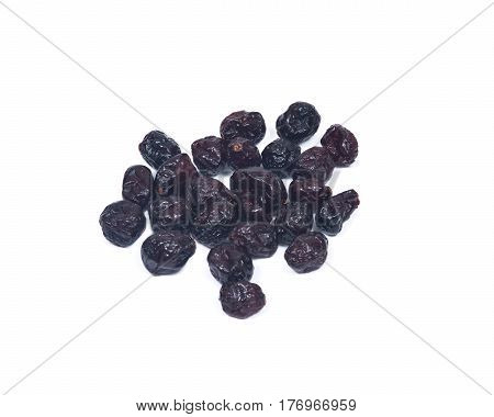Whole organic dried cranberries isolated on white background