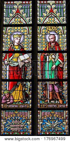 Stained Glass - Saint Catherine And Saint Donatus