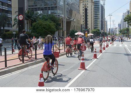 Paulista Avenue In Sao Paulo, Open For The Public For Fun.