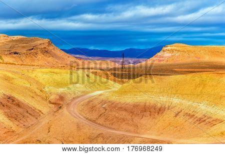 Desert landscape near Ait Ben Haddou village in Morocco, North Africa