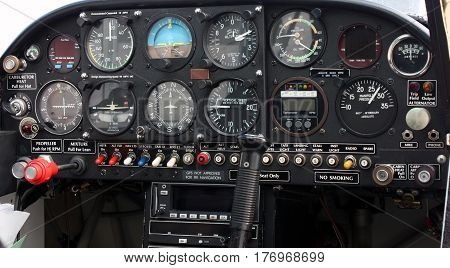 Closeup of Single-Engine Aircraft Cockpit Instrument Panel