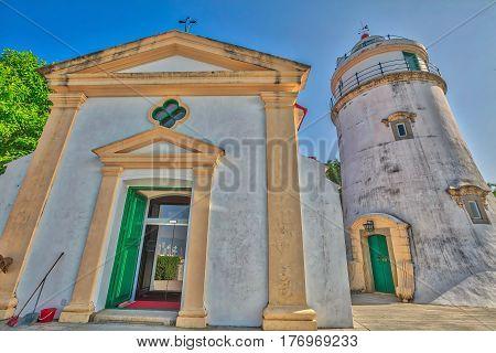 The chapel or Capela de Nossa Senhora and Guia Lighthouse inside Guia Fortress or Fortaleza da Guia, built around 1622, Heritage Site, Historic Centre of Macau, China.
