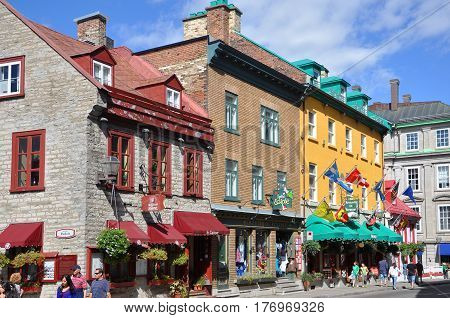 QUEBEC CITY, CANADA - SEP 10, 2011: Colorful Houses on Rue Saint Louis (St. Louis Street) in Quebec City, Quebec, Canada. Old Quebec City is UNESCO World Heritage Site since 1985.