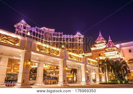 Macau, China - December 8, 2016: night view of colorful Galaxy Macau Resort Hotel Casino in Cotai Strip. Macau is the gambling capital of Asia and is visited by over 25 million people every year.