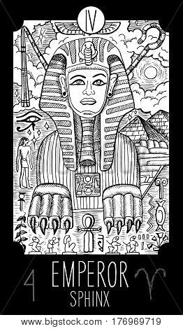 Emperor. 4 Major Arcana Tarot Card. Sphinx. Fantasy engraved line art illustration. Engraved vector drawing. See all collection in my portfolio set