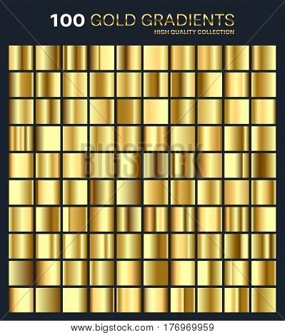 Gold, golden gradient, pattern, template.Set of colors for design, collection of high quality gradients.Metallic texture, shiny background.Pure metal.Suitable for text , mockup, banner, ribbon or ornament.