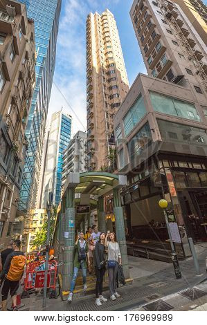 Hong Kong, China - December 4, 2016: Central-Mid-levels escalator, a system of escalators and walkways connecting Central to Western District, between Staunton and Shelley St in dining and bar area.