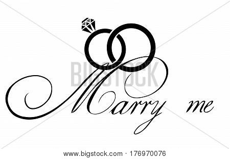 vector illustration of wedding rings marry me card