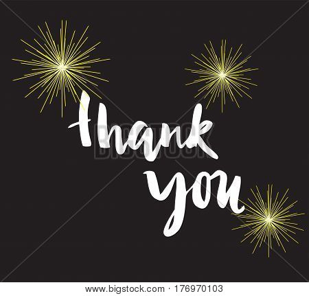 vector illustration of thank you card with fireworks