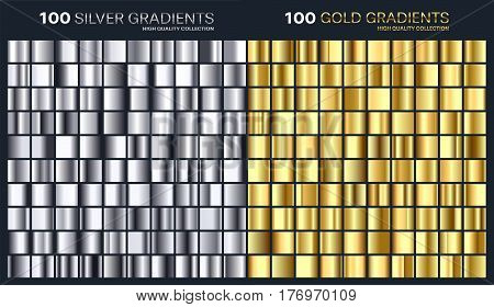 Gold, silver gradient, pattern, template.Set of colors for design, collection of high quality gradients.Metallic texture, shiny background.Pure metal.Suitable for text , mockup, banner, ribbon or ornament.