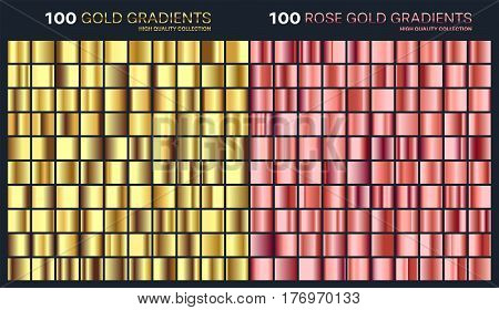Rose gold, golden gradient, pattern, template.Set of colors for design, collection of high quality gradients.Metallic texture, shiny background.Pure metal.Suitable for text, mockup, banner, ribbon, ornament.