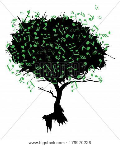 vector illustration of an abstract tree with musical notes