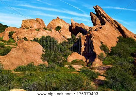 Rocks uplifted from the San Andreas Fault taken at Vasquez Rocks in Agua Dulce, CA