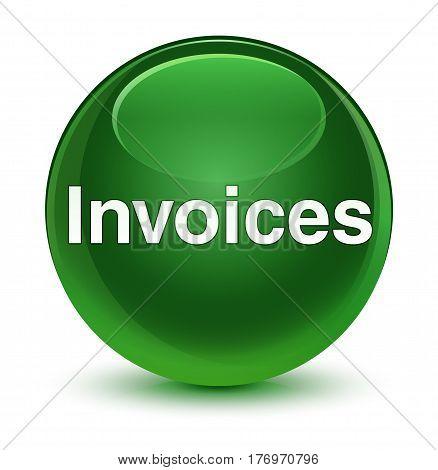 Invoices Glassy Soft Green Round Button