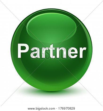 Partner Glassy Soft Green Round Button