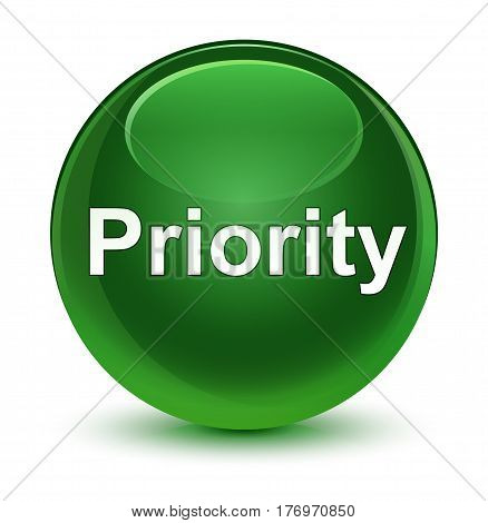 Priority Glassy Soft Green Round Button
