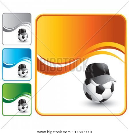 soccer referee ball on multicolored wave background