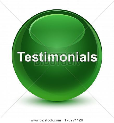 Testimonials Glassy Soft Green Round Button