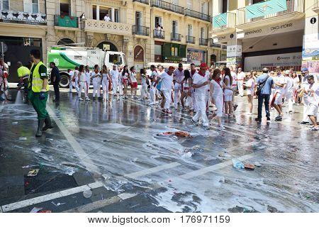 Wash streets after festival San Fermin, Pamplona, Navarra, Spain, 06 July 2016.