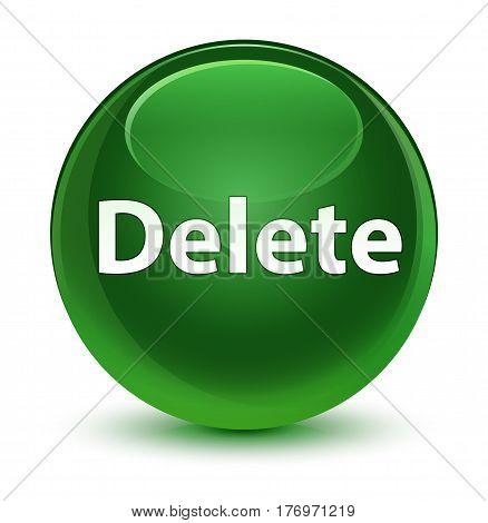 Delete Glassy Soft Green Round Button