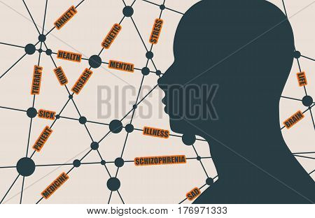 Tags cloud. Schizophrenia relative vector brochure, report or flyer design template. Scientific medical designs. Molecule And Communication Background. Connected lines with dots. Human head silhouette