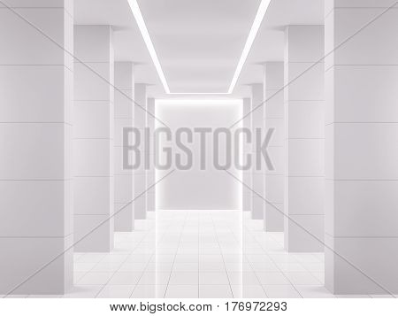 Empty white room modern space interior 3d rendering image. A blank wall with pure white. Decorate wall with horizon line pattern and hidden warm light