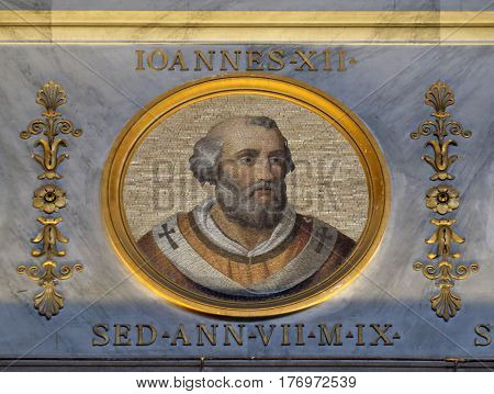 ROME, ITALY - SEPTEMBER 05: Image of Pope John XII was Pope and from 16 December 955 to his death in 964 in the basilica of Saint Paul Outside the Walls, Rome, Italy on September 05, 2016.