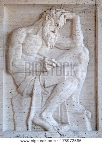 ROME, ITALY - SEPTEMBER 03: Saint Jerome bass relief by Ivan Mestrovic, San Girolamo dei Croati church in Rome, Italy  on September 03, 2016.
