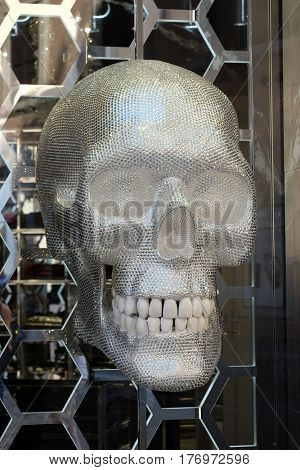 ROME, ITALY - SEPTEMBER 03: Philipp Plein shop with a shiny skull located on Piazza di Spagna, near Via Condotti in Rome, Italy on September 03, 2016.