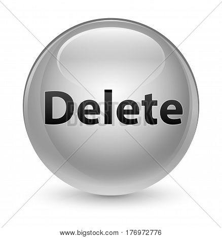 Delete Glassy White Round Button