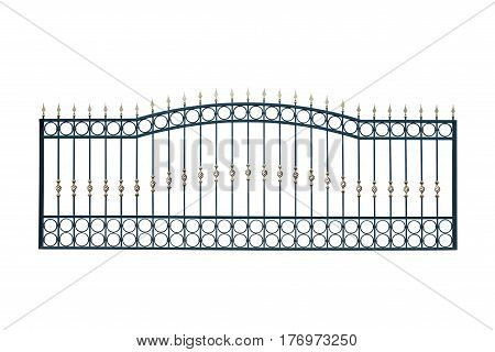Iron fence with an arch isolated on white background.