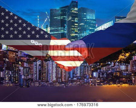 double exposure of handshake between USA and russia on double side cityscape background - can use to display or montage on product