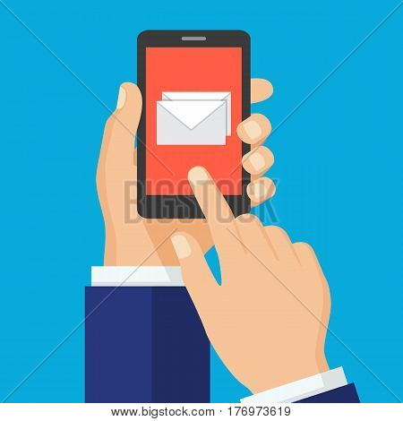 Received message concept. Hand touching smart phone with email symbol on the screen. New email. Vector illustration flat design. Isolated on background.