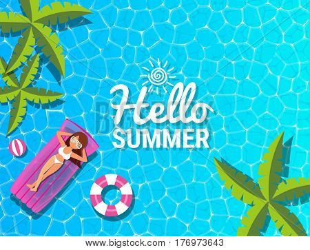 Beautiful woman relaxing on inflatable mattress at swimming pool for summer concept