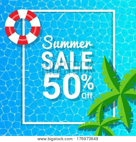 Blue water waves and 50% off for summer sale discounts