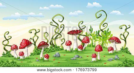 Illustration of some fly mushrooms, vector illustration