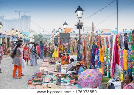 Kolkata West Bengal India - 28th November 2015 : Handicrafts on display for sale during the Handicraft Fair in Kolkata. Biggest handicrafts fair in Asia.