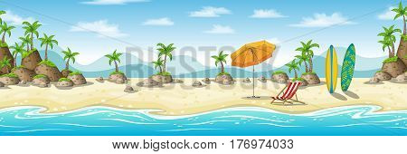 Illustration of a tropical coastal landscape with deckchair umbrella and surfboard