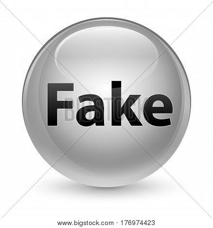 Fake Glassy White Round Button