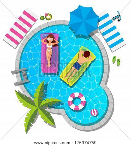 Couple relaxing on inflatable mattress at swimming pool for summer concept